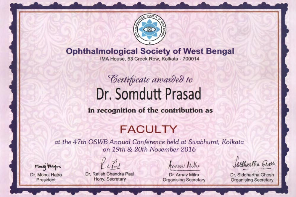 OSWB 2016 Faculty Certificate